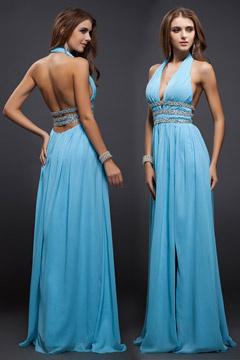 Bleue robe de soirée longue décolleté plongeant dos nu avec fente
