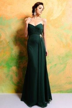 Longue robe de soirée bustier coeur verte simple élégante taille bijoutée