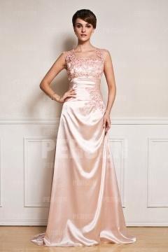 Longue robe soirée mariage élégante en dentelle rose pâle applique de fleur