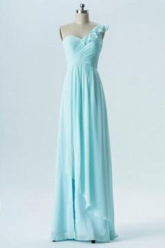 Robe asymétrique bleue pastel col à volants pour anniversaire simple élégante