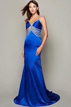 Robe bleu royale col sexy V plongeant empire avec strass avec bretelle fine