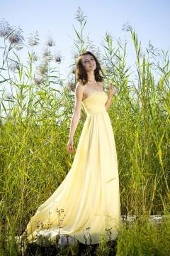 Robe chic bustier jaune longue en mousseline ornée de bijoux pour mariage