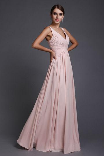 Robe soirée longue rose col V en mousseline