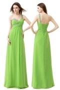 Robe de bal verte empire asymétrique parsemé bijoux brillants