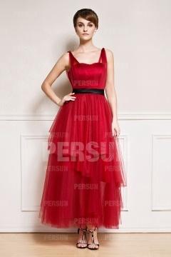 Robe de cérémonie simple rouge sans manches en tulle longueur cheville