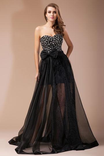 Robe de princesse noire bustier cœur strassé à jupe transparent avec noeud papillon