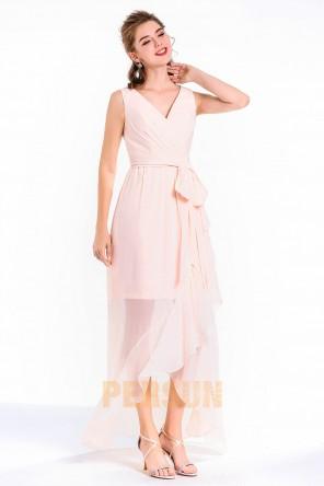 Robe de soirée chic rose pastel mi longue haut bas encolure V jupe deux couches à volants