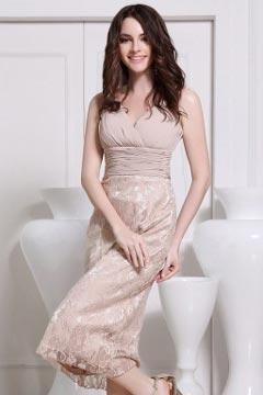 Robe de soirée de mariage mi longue col en V plissée sans manches en dentelle champagne