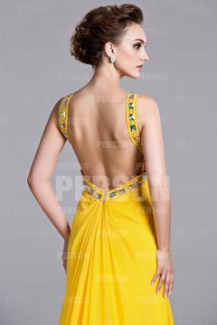 Robe de soirée jaune sexy longue dos ouvert orné de strass