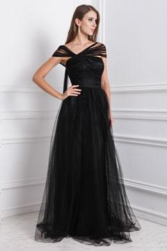 Robe de soirée princesse longue col asymétrique noire en tulle
