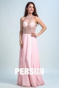 Robe de soirée rose sexy à haut transparent parsemé perles dos découpé