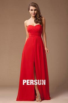 Robe de soirée rouge longue sexy bustier ruchée col en V avec la fente élevée en mousseline