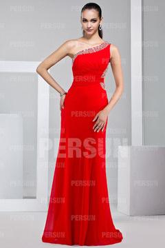 Robe de soirée rouge plissée en Mousseline parée de strass à seule épaule