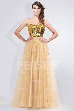 Robe dorée bustier cœur appliquée des paillettes brillantes en tulle
