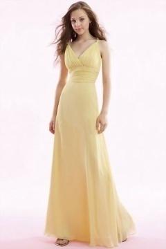 Robe jaune longue pour demoiselle d'honneur col en V
