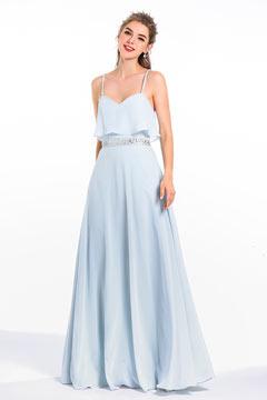 Robe longue de soirée bleu sérénité top à volants avec fines bretelles style lingerie