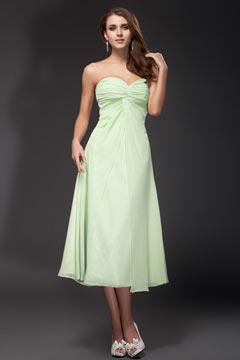 Robe rose mi longue simple plissé pour mariage bustier cœur