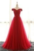 Robe rouge en tulle col avec les épaules dénudées pour soirée mariage