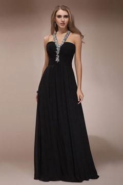 Robe sexy de soirée aux bretelles ornées de bijoux & dos découpé en noir