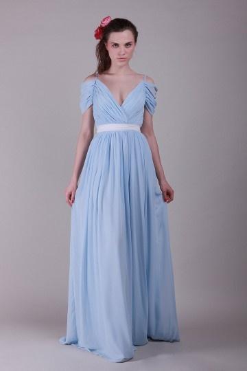 Robe simple bleu plissée & ceinturée longue à manche courte