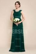 Robe simple pour soirée mariage longue en mousseline verte ruchée
