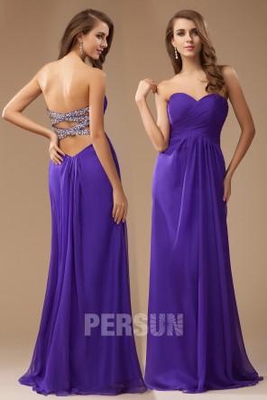 Robe simple violette longue Empire sans bretelle col en V