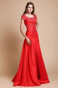 Robe soirée longue rouge encolure ovale appliquée des paillettes