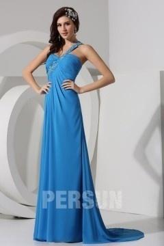 Sexy robe de soirée longue asymétrique avec fente haute